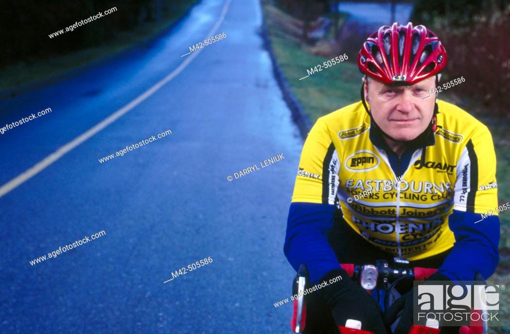 Stock Photo: Portrait of mature cyclist.
