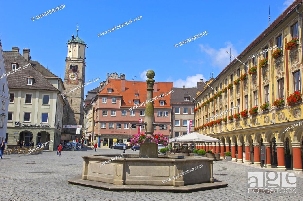 Stock Photo: Memmingen, Allgau, market place, region Allgäu, Swabia, Bavaria, Germany, Europe.