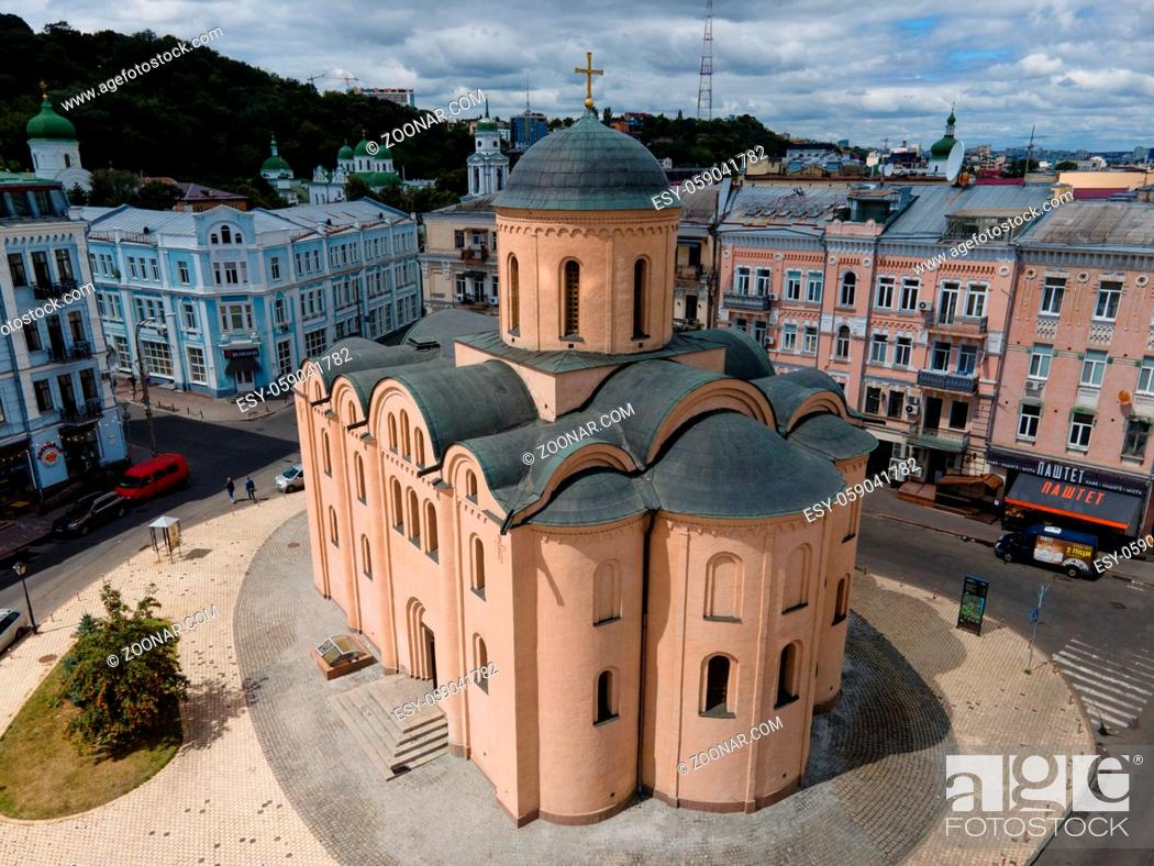 Stock Photo: Church of the Tithes. Aerial KyivUkraine.