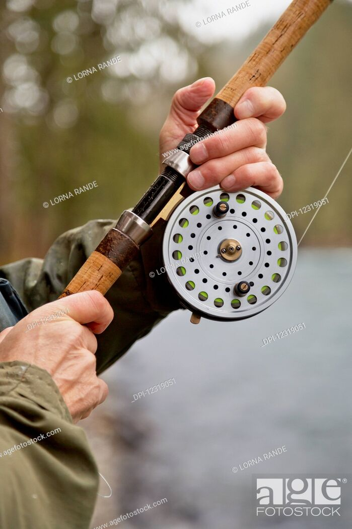 Stock Photo: Fishing along the Chilliwack River; Chilliwack, British Columbia, Canada.
