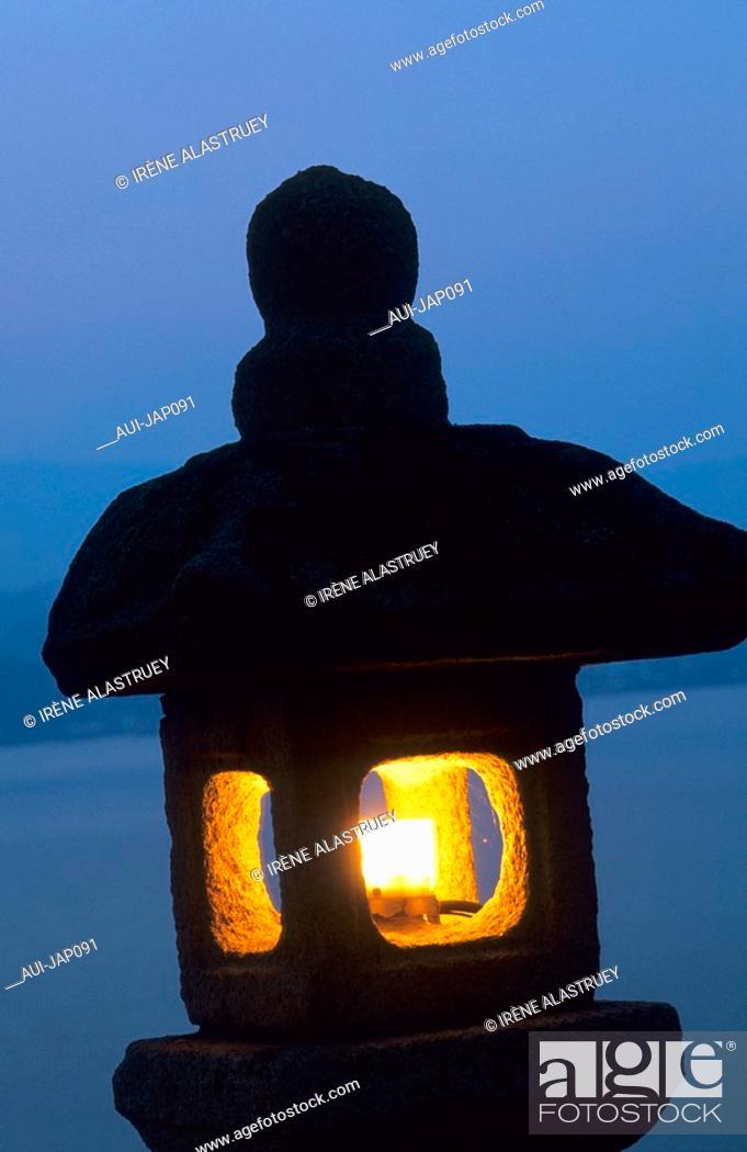 Stock Photo: Japan - The west of Honshu - Hiroshima - Miyajima Island - Stone streetlight.