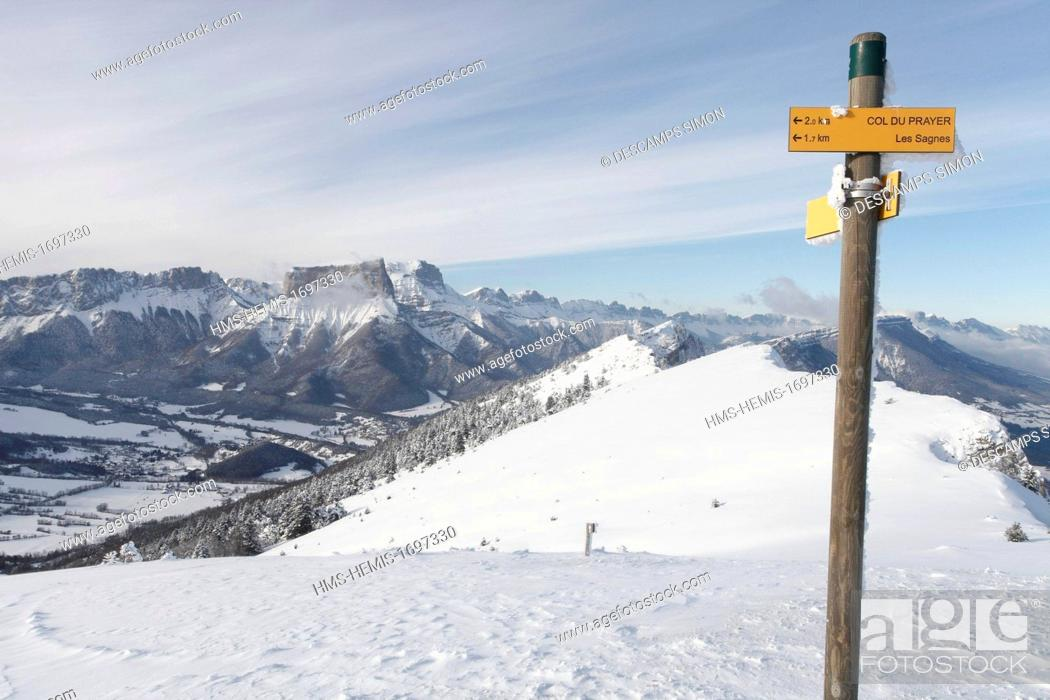 Stock Photo: France, Isere, Vercors national natural reserve, view on the Vercors plateau and the mont Aiguille from the Platary mountain, above the village.