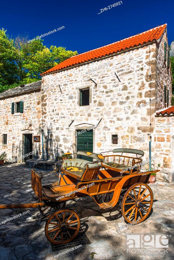 Stock Photo: Historic fort and wagon at Roski Slap, Krka National Park, Dalmatia, Croatia.