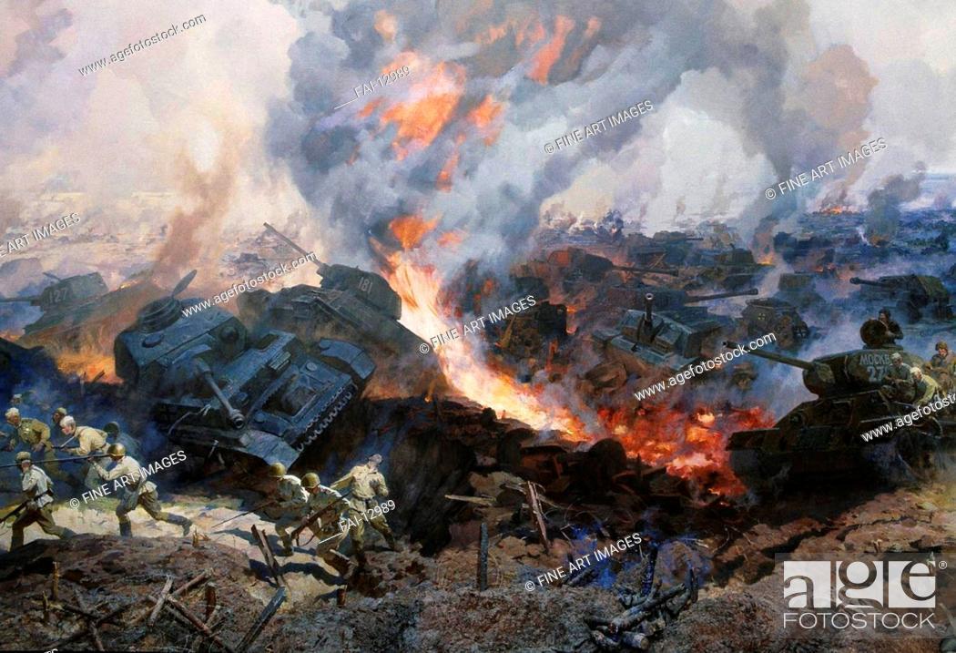 Stock Photo: Battle of Kursk Panorama (Detail). But, Nikolai Yakovlevich (*1928). Oil on canvas. Soviet Art. 1986. Diorama of the Battle of Kursk, Belgorod.