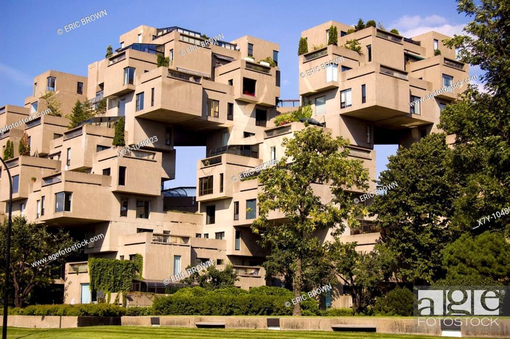 Stock Photo: Habitat 67, an apartment building in Quebec, Canada.
