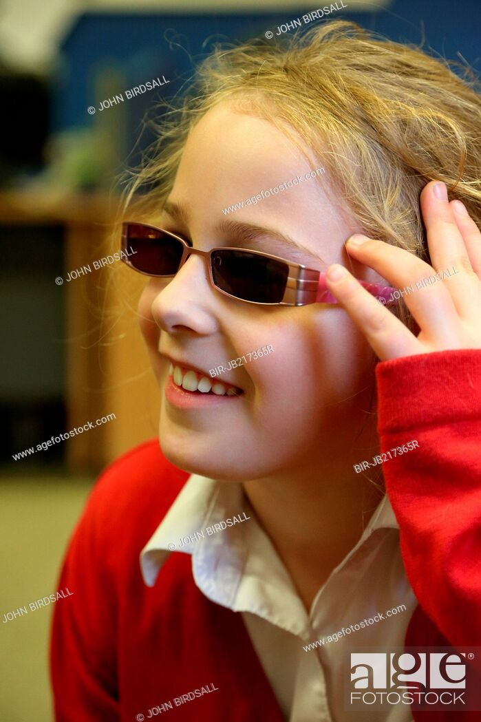 Stock Photo: Portrait of young girl with visual impairment, Mysight Nottinghm.