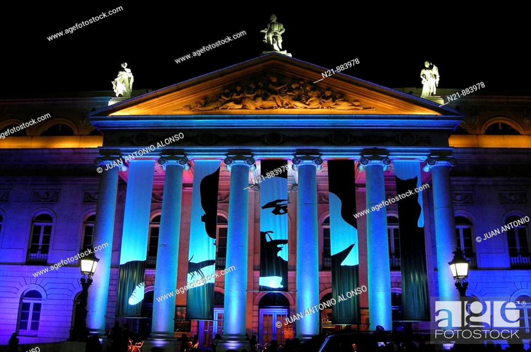 """Stock Photo: Decoration for a video clip performed by the Portuguese band The Gift as a homage to """"Queen of Fado"""" Amalia Rodrigues. Teatro Nacional Dona Maria II."""