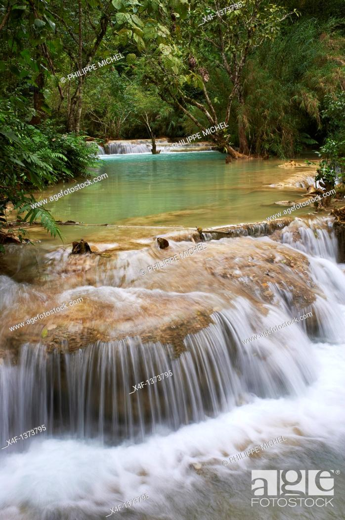 Stock Photo: Laos, Province of Luang Prabang, city of Luang Prabang, World heritage of UNESCO since 1995, Tad Thong waterfalls.