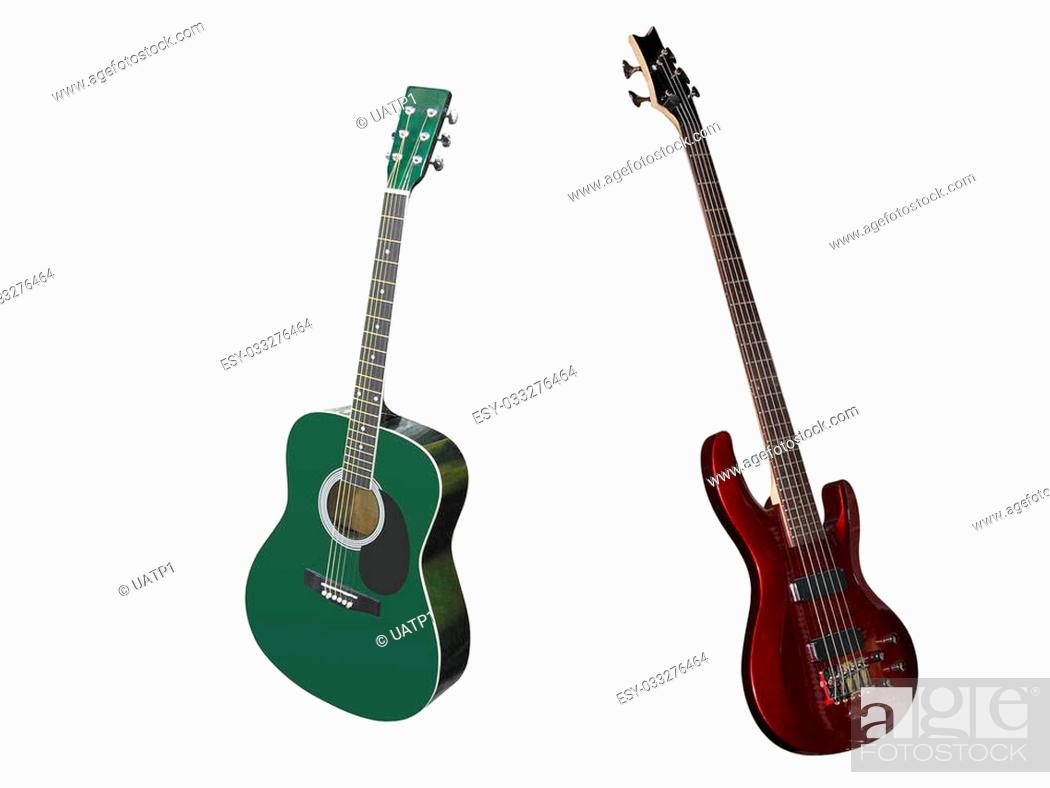 Stock Photo: The image of guitars under the white background.