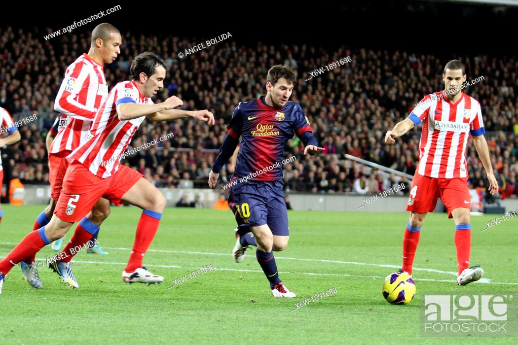 Stock Photo: 16/12/2012, NOU CAMP, BARCELONA  Leo Messi in action during the match.