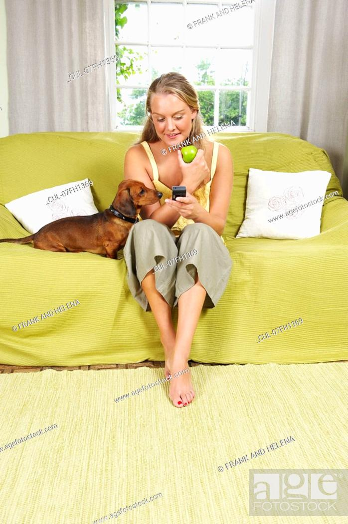 Stock Photo: Young woman with dog on couch.
