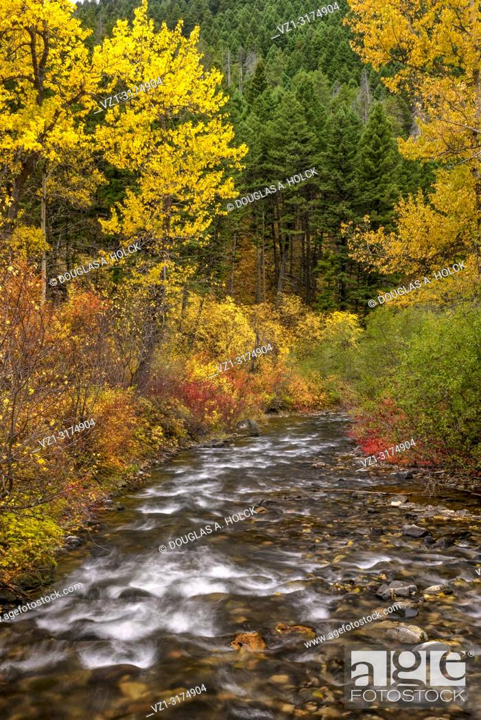 Stock Photo: Montana's Hyalite River in Fall.