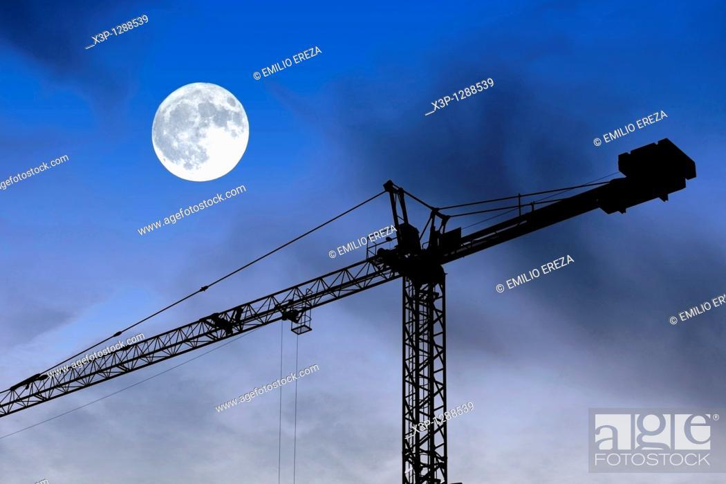 Stock Photo: Crane and moon.