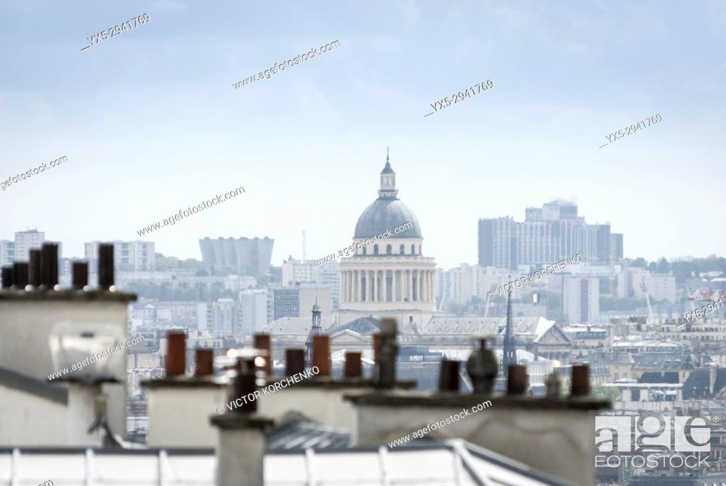 Stock Photo: Paris rooftops and the cupola of Pantheon.