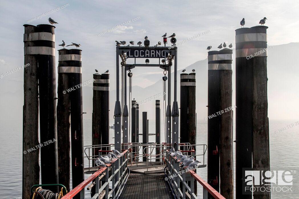 Stock Photo: Ferry pier, Locarno, Lake Maggiore, Switzerland.