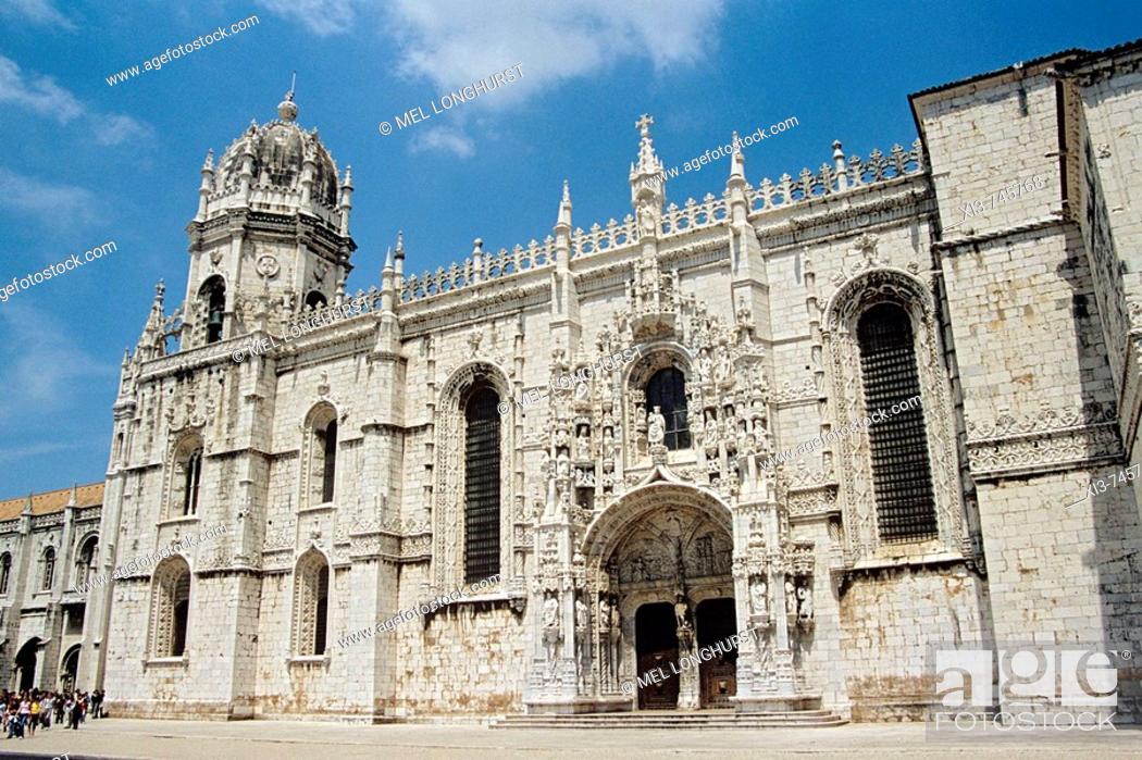 Stock Photo: Jeronimos Monastery, also known as Hieronymites Monastery, Belem District, Lisbon, Portugal.