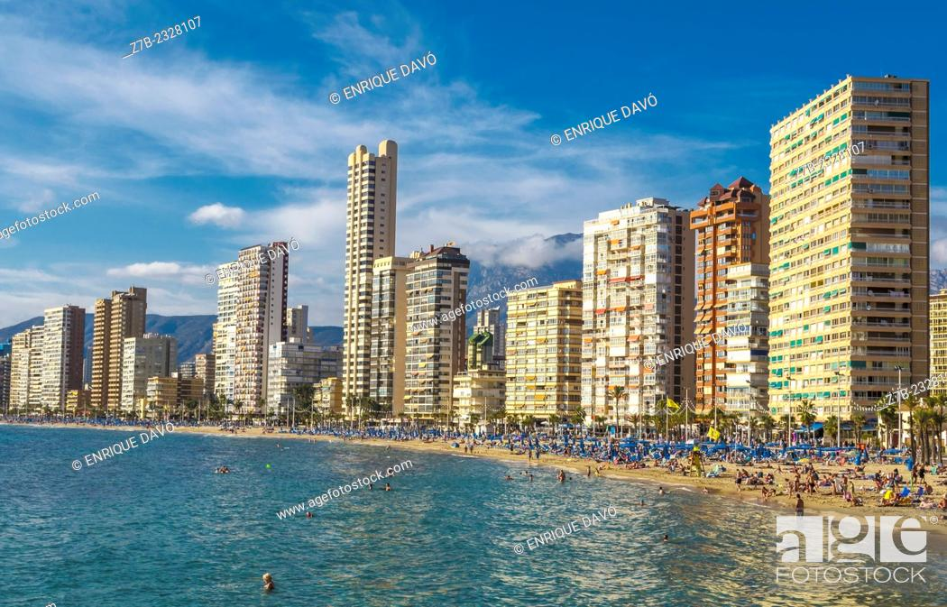 Stock Photo: View of some buildings in Benidorm beach, Alicante north, Spain.