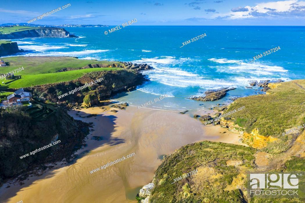 Stock Photo: Galizano bech aerial view. Ribamontan al Mar. Cantabria, Spain, Europe.
