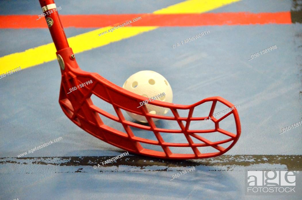 Stock Photo: STOCKHOLM SWEDEN Indoor hockey stick and ball Innebandy.