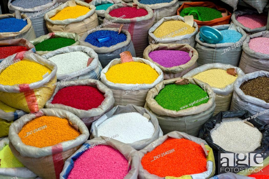 Stock Photo: Powdered paint for sale, Grand bazaar in Tehran, Iran.