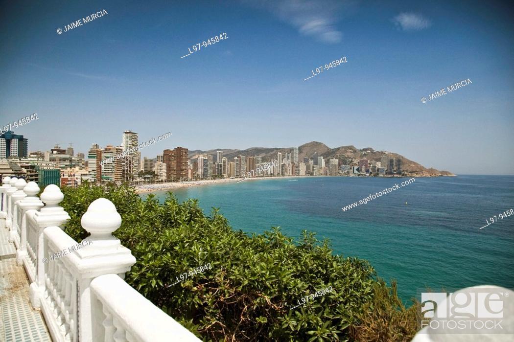 Stock Photo: View of beach, Benidorm Spain.
