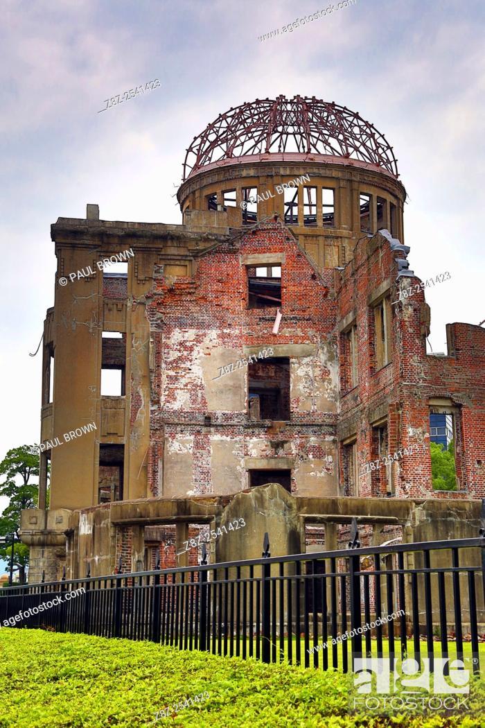 Stock Photo: The Genbaku Domu, Atomic Bomb Dome, in the Hiroshima Peace Memorial Park, Hiroshima, Japan commemorating the bombing of Hiroshima at the end of World War II.