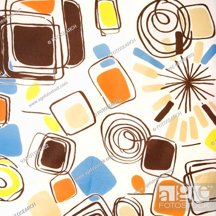 Stock Photo: Close-up of colorful vintage fabric with abstract shapes and swirls printed on polyester.