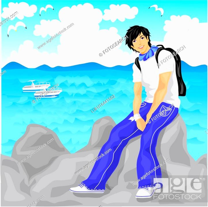 Stock Photo: casual clothing, travel, short hair, sea, vacation, model.