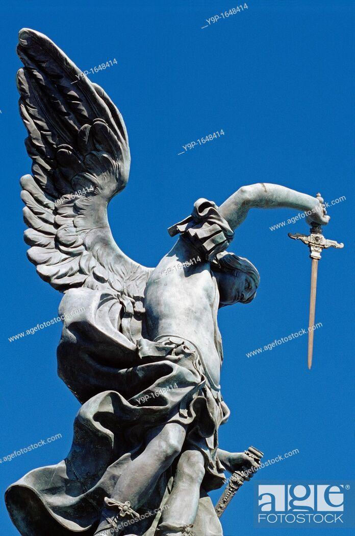 Stock Photo: The Bronze Statue Of Archangel Michael, Castel Sant'Angelo, Rome, Latium, Italy.