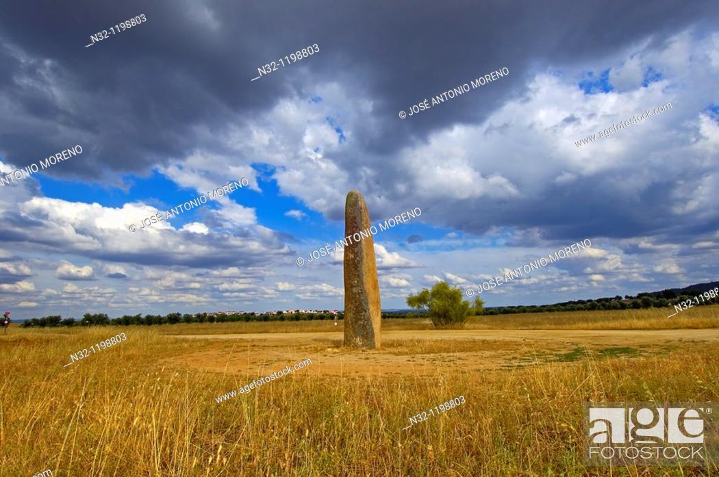 Stock Photo: Outeiro Menhir, Megalithic Site near Monsaraz, Outeiro, Evora district, Alentejo, Portugal, Europe.