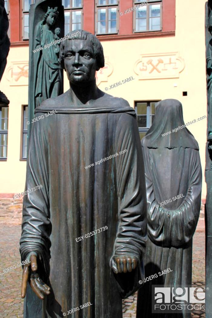 Stock Photo: the thomas müntzer monument in stolberg.