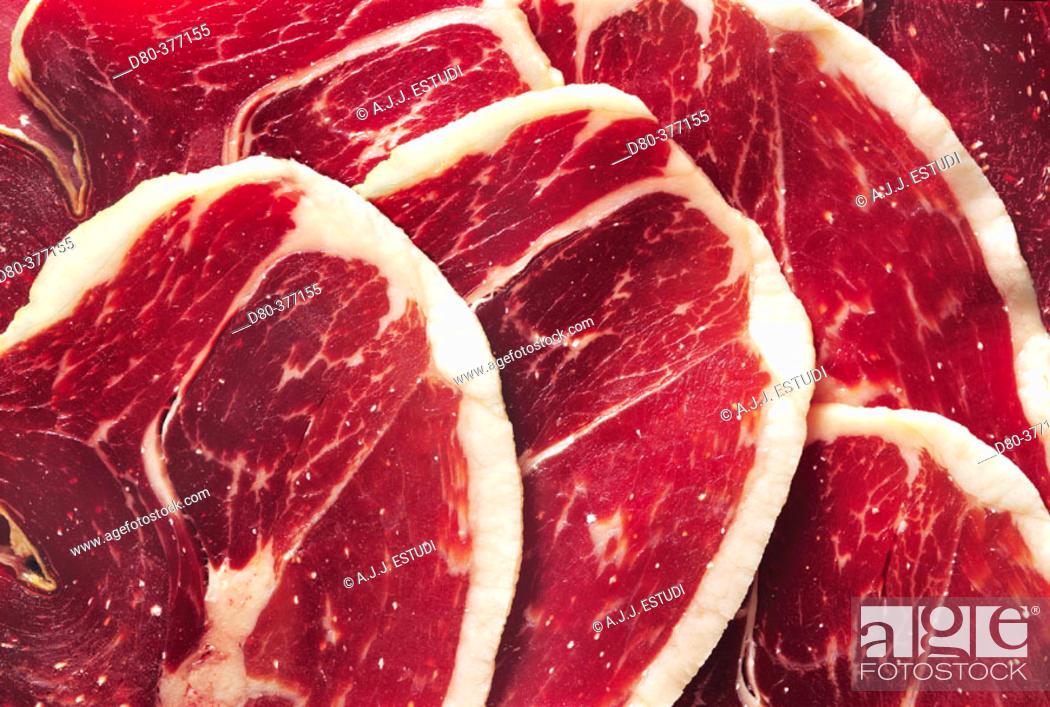 Stock Photo: Jabugo ham texture.
