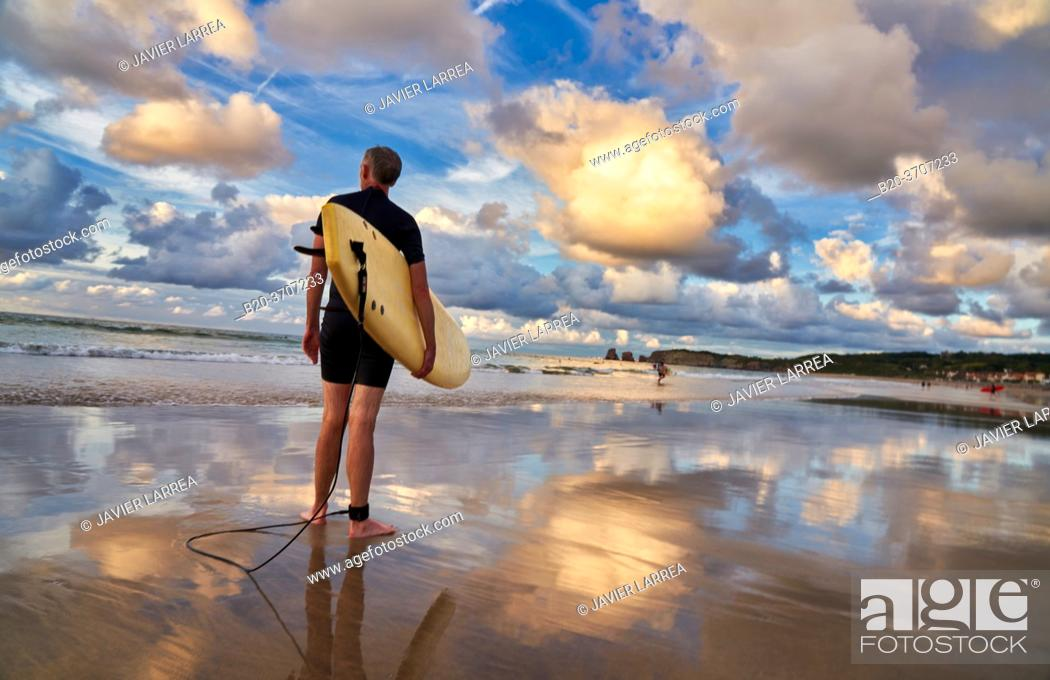 Stock Photo: Surfer, Sunset, Beach, Hendaye, Aquitaine, Pyrenees Atlantiques, France, Europe.