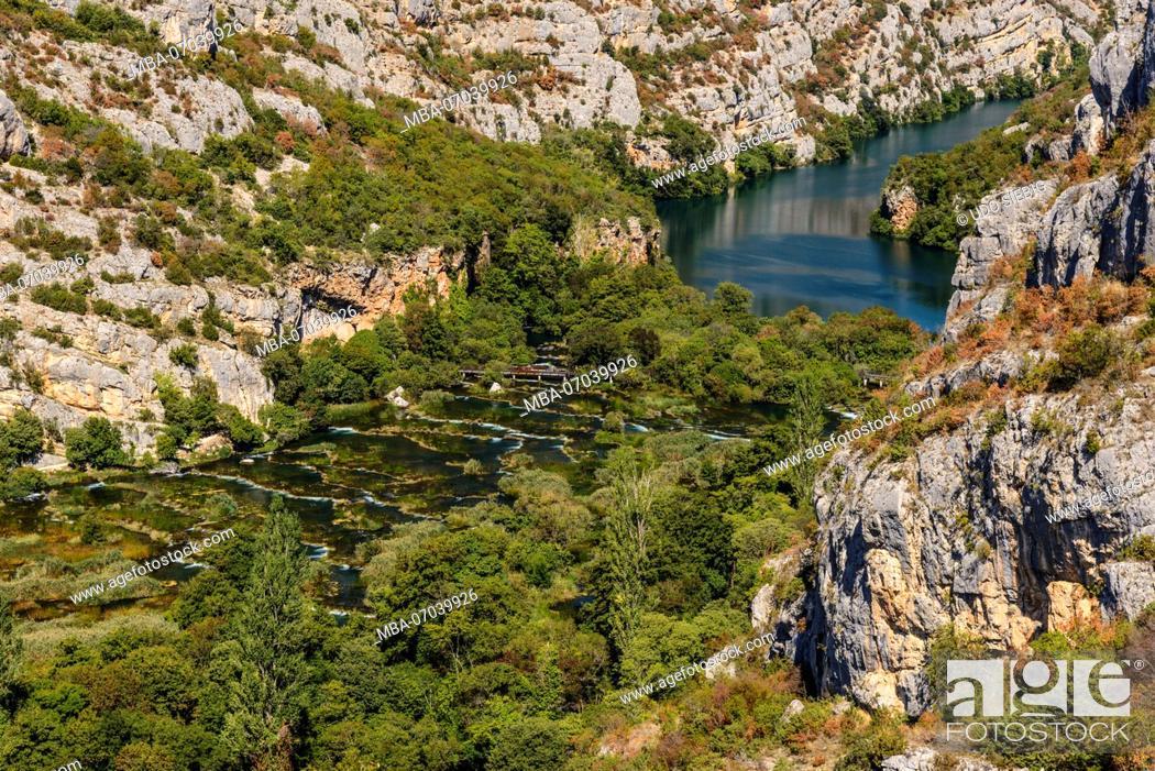 Stock Photo: Croatia, Dalmatia, region of Sibenik, Krka National Park, Roski Slap, Krka Gorge.