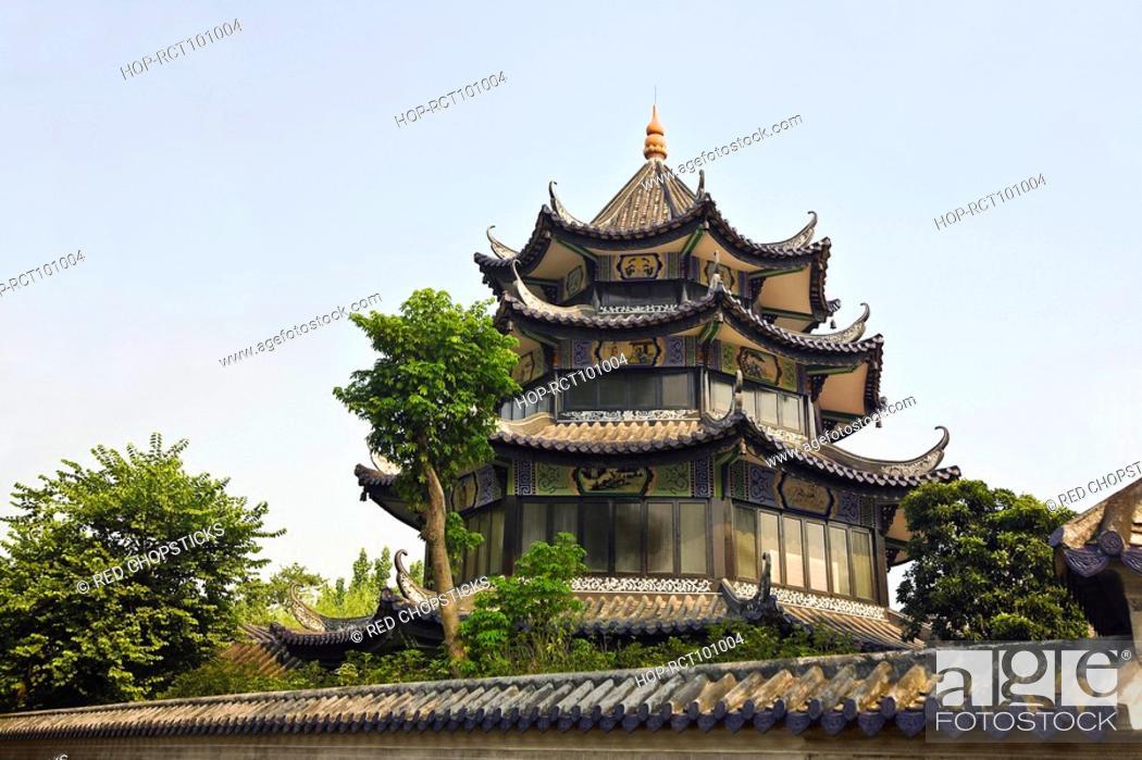 Stock Photo: Low angle view of a building, Yu Yin Shan Fang, Panyu, Guangzhou, Guangdong Province, China.