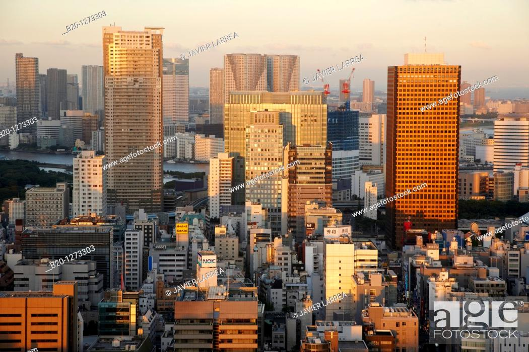 Stock Photo: World Trade Center Building, City view from Tokyo Tower, Tokyo, Japan.