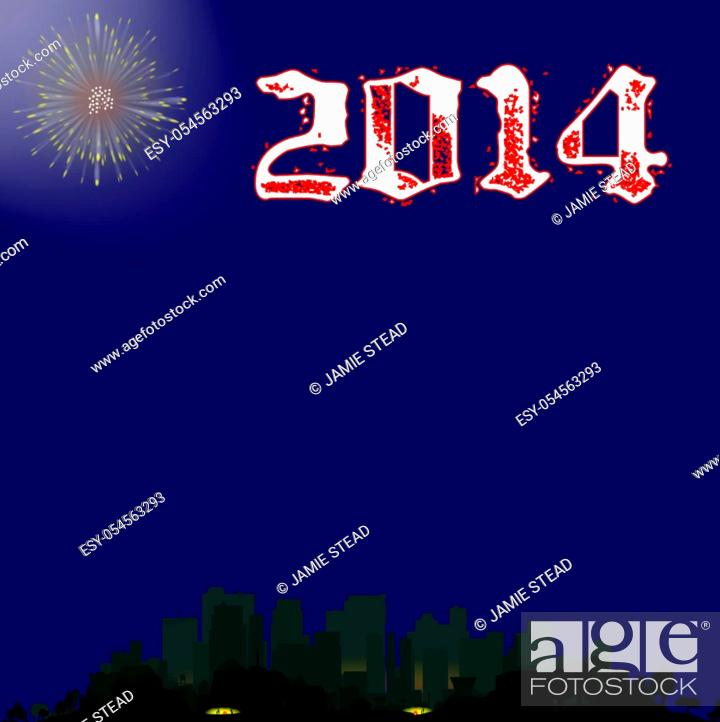 Stock Photo: A single firework burst over a city with the inscription 2013. The first rocket of the evening.