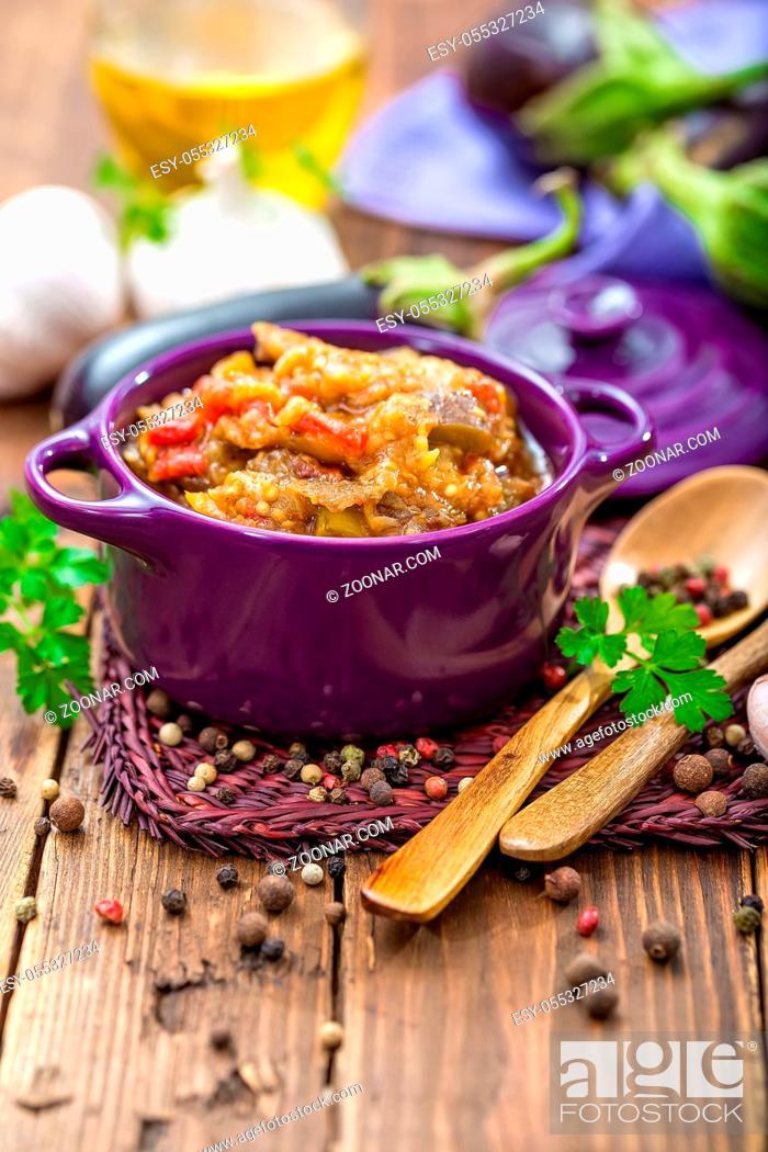 Stock Photo: eggplant puree.