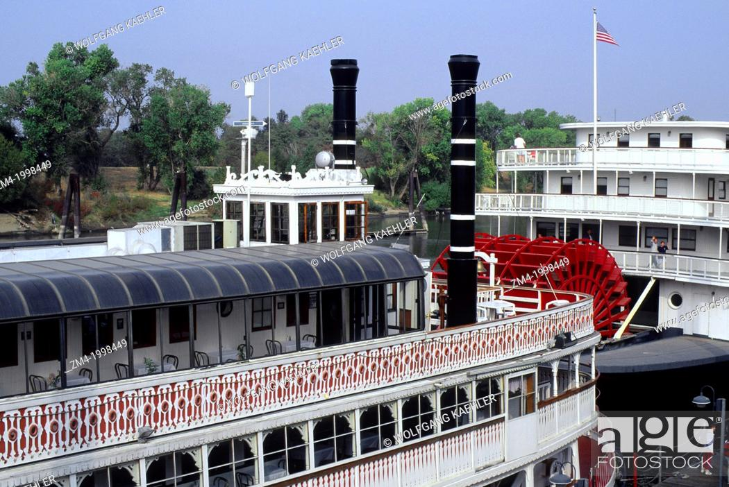 usa california old sacramento old paddle wheelers stock photo