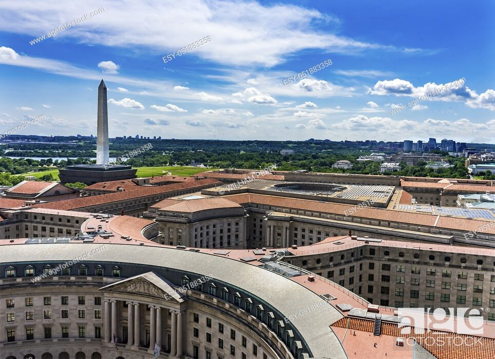 Stock Photo: Washington Monument Environmental Protection Agency EPA Orange Roofs Government Buildings Washington DC.