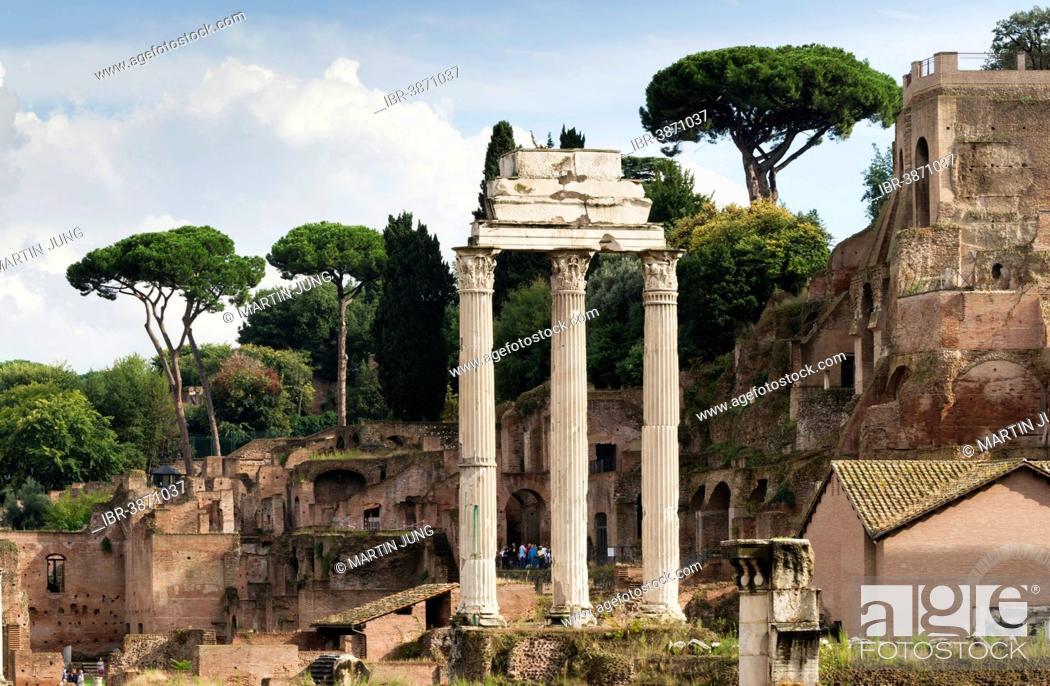 Stock Photo: Temple of Castor and Pollux, 484 BC, Corinthian columns, in front of Santa Maria Antiqua and the Temple of Augustus, Roman Forum, Rome, Lazio, Italy.