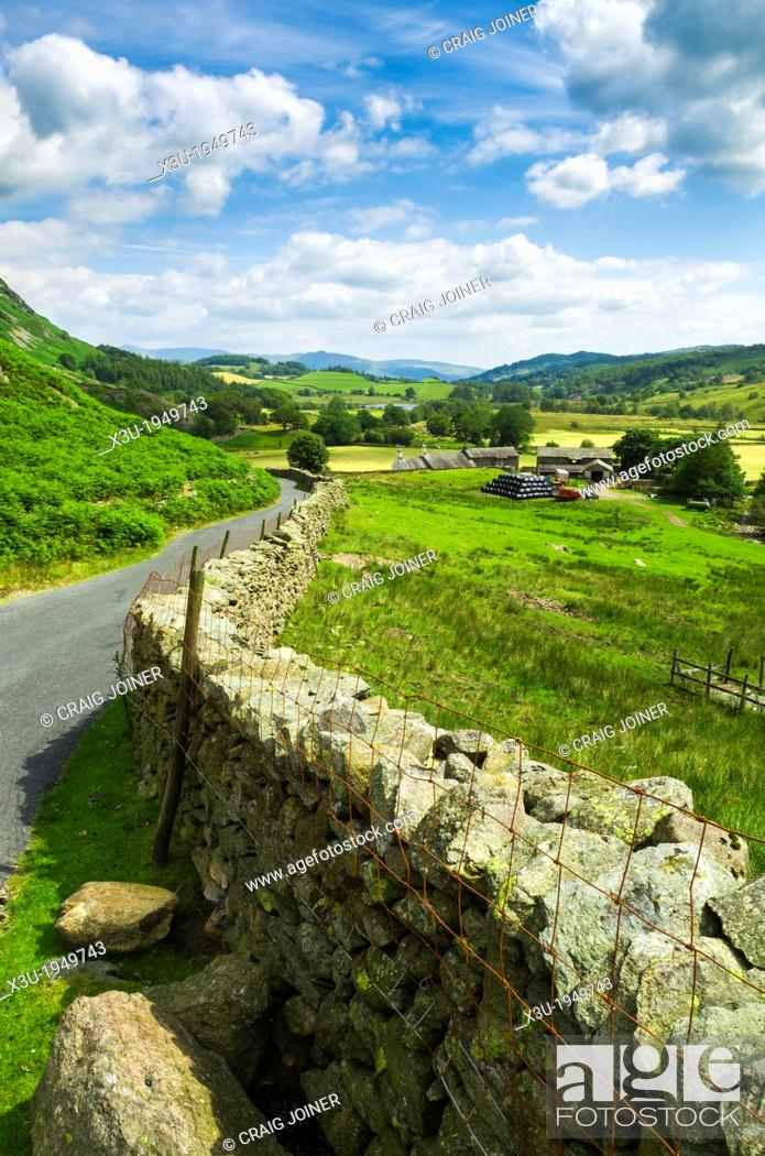 Stock Photo: Little Langdale Valley in the English Lake District, Cumbria, England.