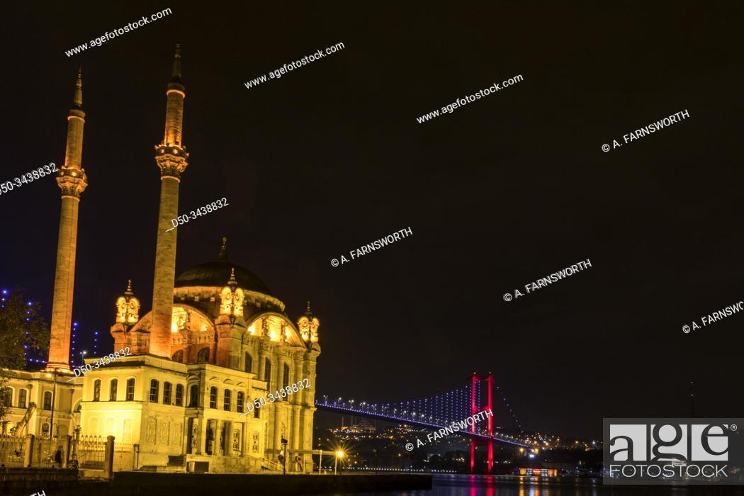 Photo de stock: Istanbul, Turkey The Ortaköy Mosque under the Bosphorus Bridge, known officially as the 15 July Martyrs Bridge and unofficially as the First Bridge.
