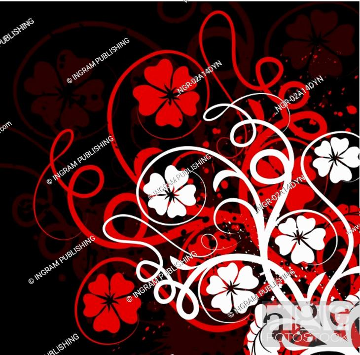 Stock Photo: Grunge floral background, vector.