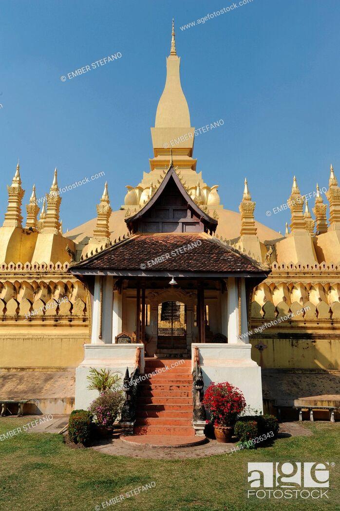 Stock Photo: Laos, Asia, Vientiane, Pha That Luang, Buddhism, Stupa, temple,.