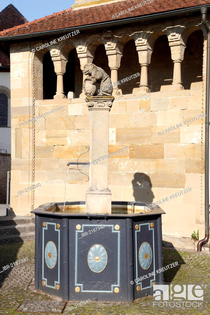 Stock Photo: Fountain in front of the Romanesque Erhardskapelle chapel, Benedictine monastery of Comburg, Grosscomburg, Steinbach near Schwaebisch Hall, Baden-Wuerttemberg.