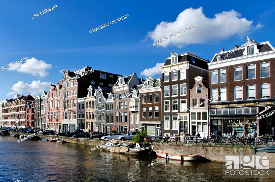Stock Photo: Dutch houses, Canal, Amsterdam, Netherlands.