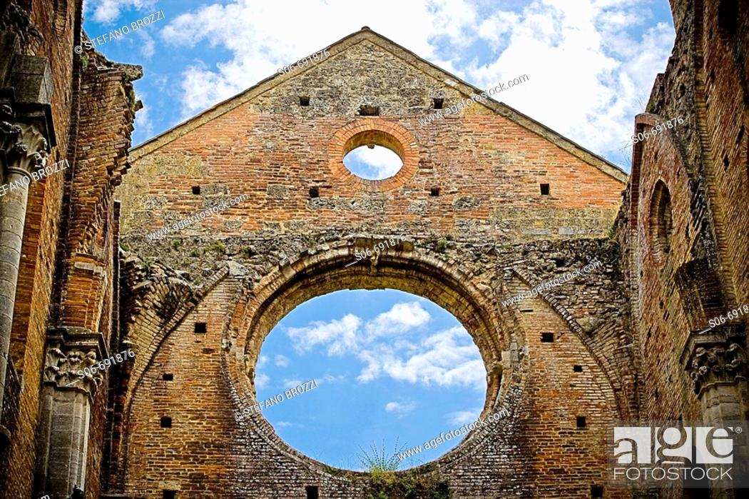 Stock Photo: Ruins of the Gothic Abbey of San Galgano. Tuscany, Italy.