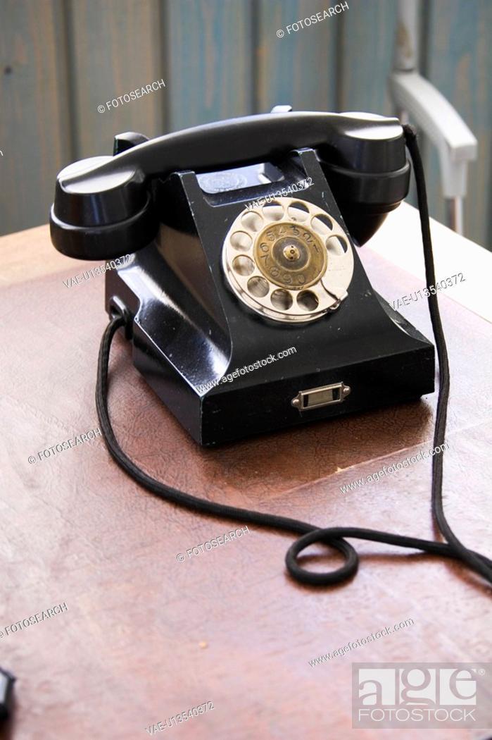 Stock Photo: Indoors, Landline Phone, Wire.