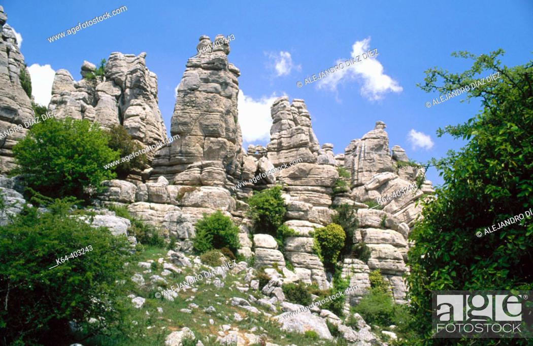 Stock Photo: Erosion working on Jurassic limestones, Torcal de Antequera. Málaga province, Spain.